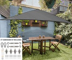16′ Triangle Sun Shade Sail Canopy in Stone Grey- Durable Outdoor Patio Cover Pergola Awni ...