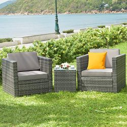 Tangkula 3 PCS Patio Wicker Bistro Set, Outdoor Rattan Sofa Set, Conversation Furniture w/Washab ...