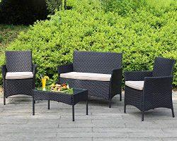Outdoor Patio Furniture Sets 4 Pieces Patio Set Rattan Chair Wicker Sofa Conversation Set Patio  ...
