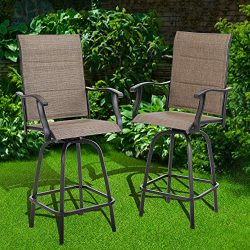 PHIVILLA Outdoor Bar Stool 2 PC Patio Height Bar Swivel Chairs High Patio Outdoor Furniture Gard ...