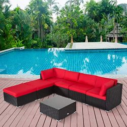 7PC Outdoor Sectional Sofa Set Rattan Wicker Patio Furniture Sofa with Washable Cushions & M ...