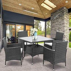 Wisteria Lane 5 Piece Outdoor Patio Dining Set, Wicker Glassed Table and Cushioned Chair, Umbrel ...