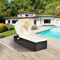 Tangkula Outdoor Chaise Lounge Chair with Folding Canopy, Adjustable Cushioned Reclining Chair w ...