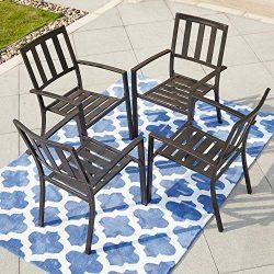 LOKATSE HOME Steel Outdoor Patio Dining Arm Chairs Set of 4 for Garden,Backyard, Kitchen, Balcon ...