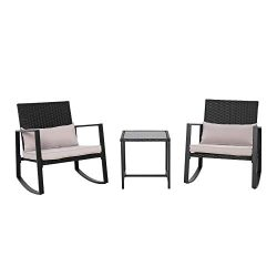 AmazonBasics 3-Piece Patio Bistro Rocking Chair Set with Tempered Glass Side Table and Cushions, ...