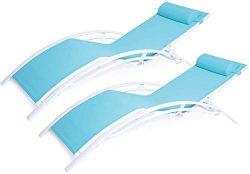 Kozyard KozyLounge Elegant Patio Reclining Adjustable Chaise Lounge Aluminum and Textilene Sunba ...