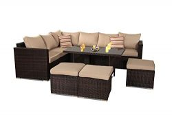 Patio Furniture Garden 7 PCS Sectional Sofa Brown Wicker Conversation Set Outdoor Indoor Use Cou ...