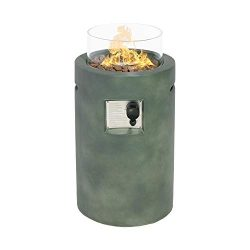 Sunbury Outdoor Propane Burning Fire Bowl Column, Dark Green Patio Fire Pit Table 40,000 BTU w L ...