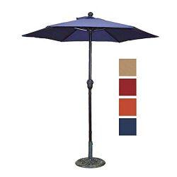 Patio Umbrella Outdoor Table Umbrella with 6 Sturdy Ribs and Crank 6 ft, Navy Blue Umbrella
