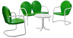 Crosley Furniture Griffith 4-Piece Metal Outdoor Conversation Set with Table, Loveseat, and 2 Ch ...