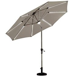 PURPLE LEAF 9 Feet Solar Powered LED Lighted Patio Umbrella with Push Button Tilt and Crank Outd ...