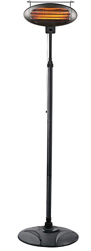 Hiland HIL-1500DI Electric Patio Heater, 1500 Watts w/Variable Heat Control, Tall, Black