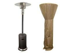 PrimeGlo PRM-M-48-A Tall Patio Propane Heater w/Cover, 87 Inches, Matte Bronze