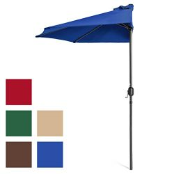 Best Choice Products 9ft Steel Half Patio Umbrella for Backyard, Deck, Garden w/Crank Mechanism, ...