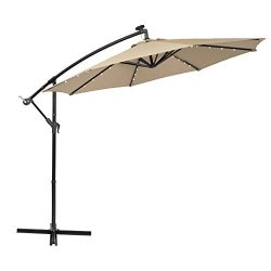 PHI VILLA 10ft Offset Hanging Umbrella with 32 PCS LED Lights Solar Powered Patio Umbrella with  ...