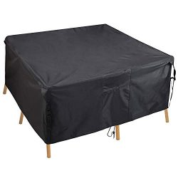 PATIOPTION Patio Table Cover, Rectangular Furniture Set Cover Outdoor Square Cover 600D Heavy Du ...
