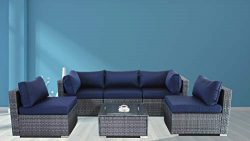JETIME Outdoor Rattan Furniture 6pcs Patio Grey Conversation Set Garden Sofa Set Sectional Couch ...