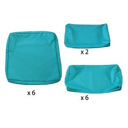 VALITA Patio Rattan Wicker Sectional Chair Sofa Furniture Cushion Cover Set for 7 Piece, Turquoise