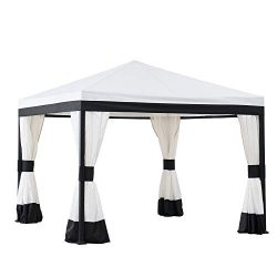 Sunjoy A101011300 Marquis 10×10 ft. Steel Gazebo, White and Black