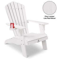 QOMOTOP Modern Patio Adirondack Chair, Fashion Poly Lumber Chair for Garden and Lawn, 38L 30.25W ...
