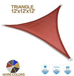 HENG FENG 12'x12'x12′ Terra Triangle Sun Shade Sail UV Block for Patio Deck Ya ...
