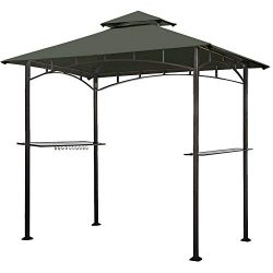 Eurmax 5FT x 8FT Double Tiered Replacement Canopy Grill BBQ Gazebo Roof Top Gazebo Replacement C ...