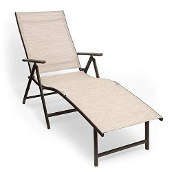 Kozyard Cozy Aluminum Beach Yard Pool Folding Reclining Adjustable Chaise Lounge Chair (1, Beige)
