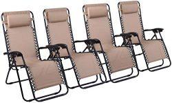 Naomi Home Zero Gravity Lounge Patio Outdoor Recliner Chairs Cream/Set of 4