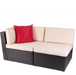 Devoko 2 Pieces Patio Furniture Sofa Sets Outdoor All-Weather Sectional Corner Sofa and Armless  ...