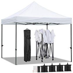 Yaheetech 10 x 10 ft Pop Up Canopy Tent – Heavy Duty Commercial Event Tent Pavilion Portab ...