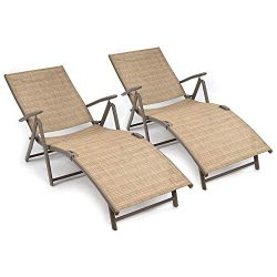 Flamaker Patio Lounge Chairs Adjustable Chaise Lounge Chairs Folding Outdoor Recliners Set of 2  ...