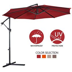 Giantex 10ft Offset Hanging Patio Umbrella, Outdoor Market Umbrellas w/Crank Lift & Cross Ba ...