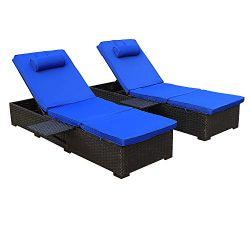 Outdoor PE Wicker Chaise Lounge – 2 Piece Patio Black Rattan Reclining Chair Furniture Set ...