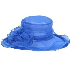 Womens Organza Kentucky Derby Hat Blue Lace Flower Wide Brim Lady Tea Party Church Wedding Femal ...