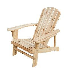 PatioFestival Wood Adirondack Lounger Chair,Outdoor Fir Unpainted Wooden Chairs,Accent Furniture ...