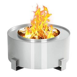 Esright 28.5″ Patio Fire Pit 304 Stainless Steel Outdoor Smokeless Wood Burning for Backya ...