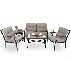 PHI VILLA 5-Peice Cushioned Patio Conversation Set Outdoor Furniture Sofa Set with 1 Loveseat, 2 ...