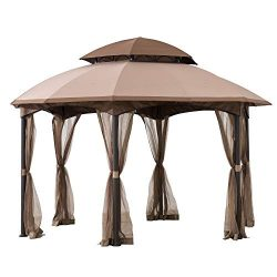 Sunjoy A101011800 Louisiana 13×13 ft. Steel Gazebo with 2-Tier Dome Canopy, Tan and Brown