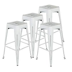 Bonzy Home Bar Stools Set of 4, 30 inch Distressed Designed Metal Barstools, Stackable Home Kitc ...