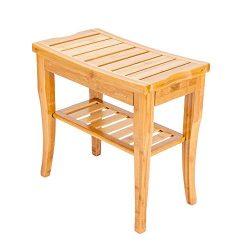 Shower Bench Seat – Shower Bench Teak Wood with Storage Shelf,for Bedroom or Bathroom.Stu ...
