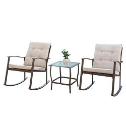 Outdoor 3-Piece Rocking Chair Bistro Set Brown Wicker Patio Furniture-Two High-Back Chairs with  ...