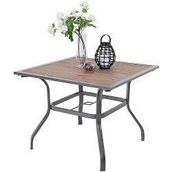 PHI VILLA Patio Dinning Table 37″ x 37″ Outdoor Umbrella Bistro Set Garden Furniture ...