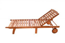 VIFAH V255 Outdoor Wood Single Chaise Lounge, Natural Wood Finish, 75 by 28 by 13-Inch