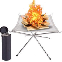 SUCHDECO Portable Outdoor Fire Pit – 2020 New Upgrade, 22 Inch Camping Stainless Steel Mes ...