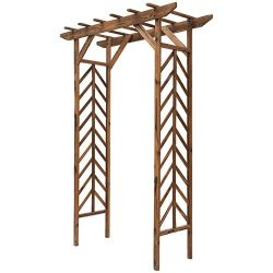 Outsunny Fir Wood Garden/Backyard Arbor Trellis with Pergola Style Roof, Perfect for Vines & ...