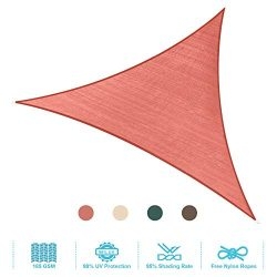 PHI VILLA Sun Shade Sail Triangle 16.5'x16.5'x16.5′ Terra Cotta Patio Canopy C ...