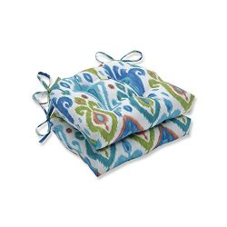 Pillow Perfect 620145 Indoor/Outdoor Paso Caribe Reversible Chair Pad (Set of 2), 16″ x 15 ...