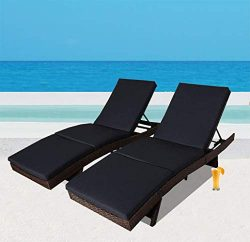 Outdoor Patio Synthetic Backyard Poolside Garden Black Rattan Wicker Chaise Lounge Chair Cushion ...