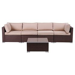 Green4ever Outdoor Patio 5 Pieces Furniture All Weather Sectional PE Wicker Sofa Rattan Loveseat ...