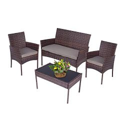 YICHEN 4-Piece Patio Furniture Set with 3 Seats and Tempered Glass Top Table, Pool Backyard Outd ...